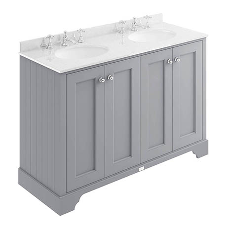 Bayswater Plummett Grey 1200mm 4 Door Vanity Unit & 3TH White Marble Double Bowl Basin Top
