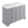 Bayswater Plummett Grey 1200mm 4 Door Vanity Unit & 3TH White Marble Double Bowl Basin Top profile small image view 1