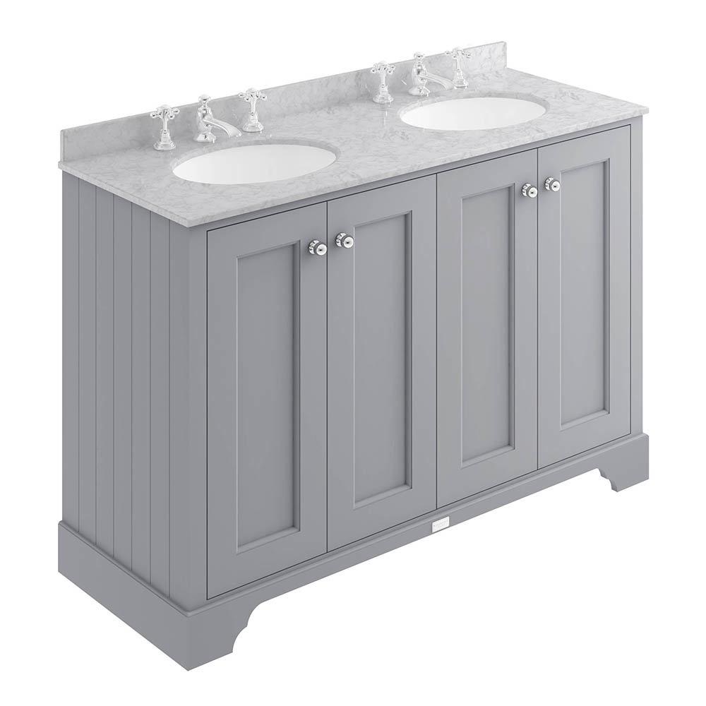 Bayswater Plummett Grey 1200mm 4 Door Vanity Unit & 3TH Grey Marble Double Bowl Basin Top