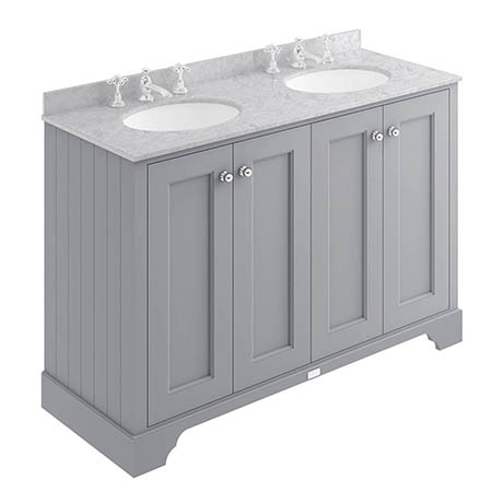 Bayswater Plummett Grey 1200mm 4 Door Vanity Unit & 3TH Grey Marble Double Bowl Basin Top