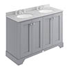 Bayswater Plummett Grey 1200mm 4 Door Vanity Unit & 3TH Grey Marble Double Bowl Basin Top profile small image view 1