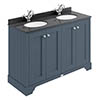 Bayswater Stiffkey Blue 1200mm 4 Door Vanity Unit & 1TH Black Marble Double Bowl Basin Top profile small image view 1