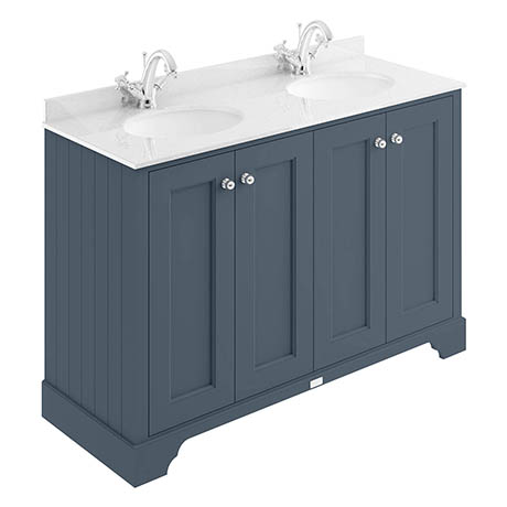 Bayswater Stiffkey Blue 1200mm 4 Door Vanity Unit & 1TH White Marble Double Bowl Basin Top