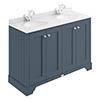 Bayswater Stiffkey Blue 1200mm 4 Door Vanity Unit & 1TH White Marble Double Bowl Basin Top profile small image view 1