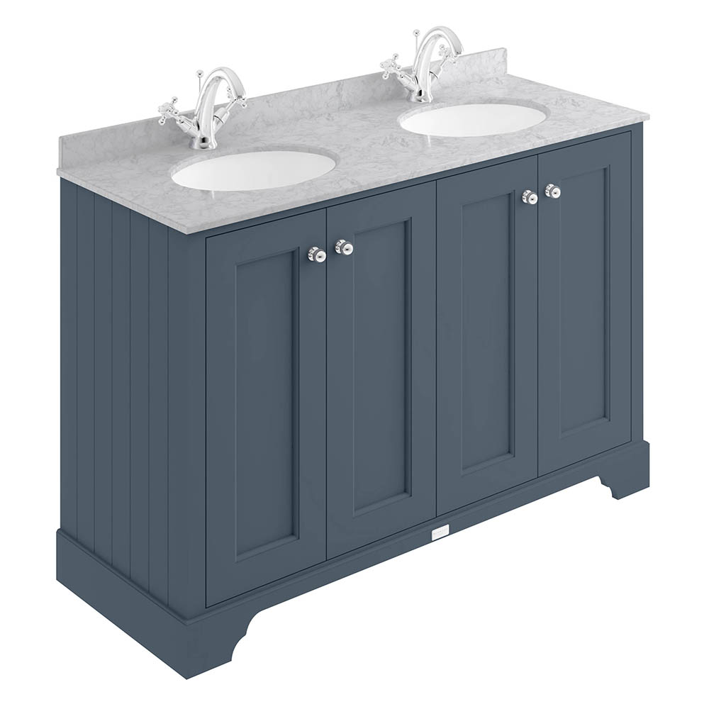 Bayswater Stiffkey Blue 1200mm 4 Door Vanity Unit & 1TH Grey Marble Double Bowl Basin Top
