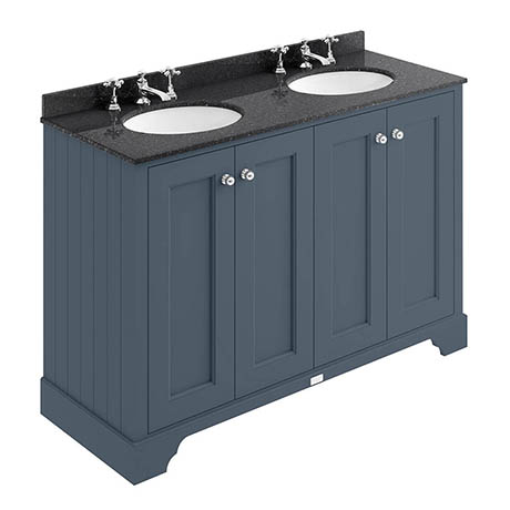 Bayswater Stiffkey Blue 1200mm 4 Door Vanity Unit & 3TH Black Marble Double Bowl Basin Top