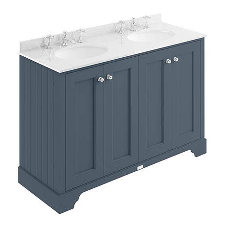 Bayswater Stiffkey Blue 1200mm 4 Door Vanity Unit & 3TH White Marble Double Bowl Basin Top