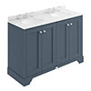 Bayswater Stiffkey Blue 1200mm 4 Door Vanity Unit & 3TH White Marble Double Bowl Basin Top profile small image view 1