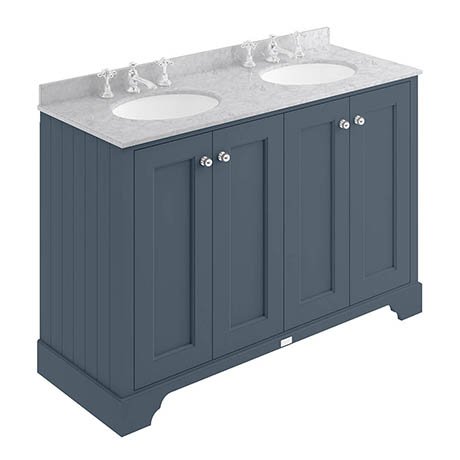 Bayswater Stiffkey Blue 1200mm 4 Door Vanity Unit & 3TH Grey Marble Double Bowl Basin Top