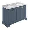 Bayswater Stiffkey Blue 1200mm 4 Door Vanity Unit & 3TH Grey Marble Double Bowl Basin Top profile small image view 1