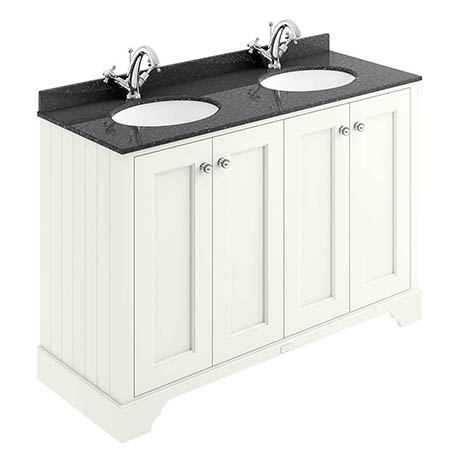 Bayswater Pointing White 1200mm 4 Door Vanity Unit & 1TH Black Marble Double Bowl Basin Top