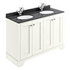 Bayswater Pointing White 1200mm 4 Door Vanity Unit & 1TH Black Marble Double Bowl Basin Top profile small image view 1
