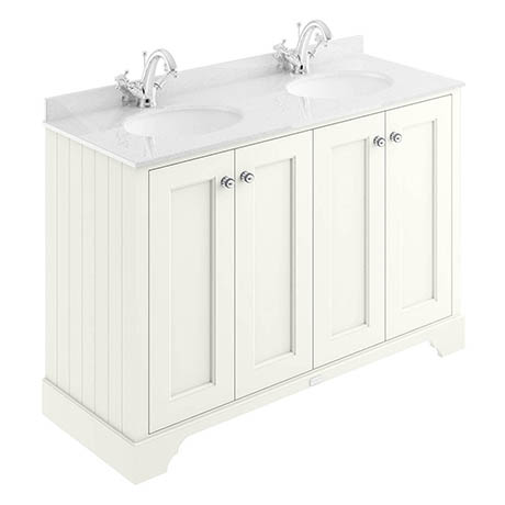 Bayswater Pointing White 1200mm 4 Door Vanity Unit & 1TH White Marble Double Bowl Basin Top