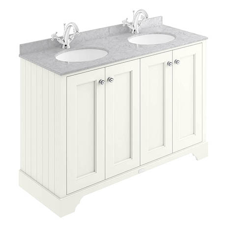 Bayswater Pointing White 1200mm 4 Door Vanity Unit & 1TH Grey Marble Double Bowl Basin Top