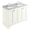 Bayswater Pointing White 1200mm 4 Door Vanity Unit & 1TH Grey Marble Double Bowl Basin Top profile small image view 1
