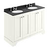 Bayswater Pointing White 1200mm 4 Door Vanity Unit & 3TH Black Marble Double Bowl Basin Top profile small image view 1