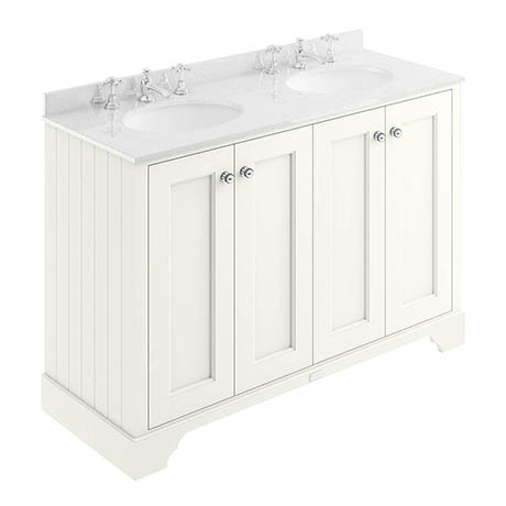 Bayswater Pointing White 1200mm 4 Door Vanity Unit & 3TH White Marble Double Bowl Basin Top