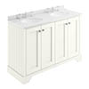 Bayswater Pointing White 1200mm 4 Door Vanity Unit & 3TH White Marble Double Bowl Basin Top profile small image view 1