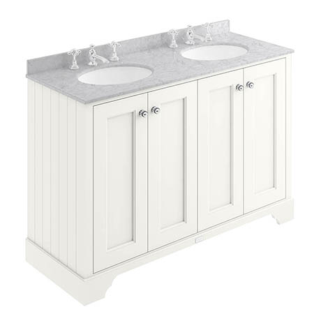 Bayswater Pointing White 1200mm 4 Door Vanity Unit & 3TH Grey Marble Double Bowl Basin Top