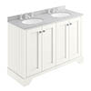 Bayswater Pointing White 1200mm 4 Door Vanity Unit & 3TH Grey Marble Double Bowl Basin Top profile small image view 1