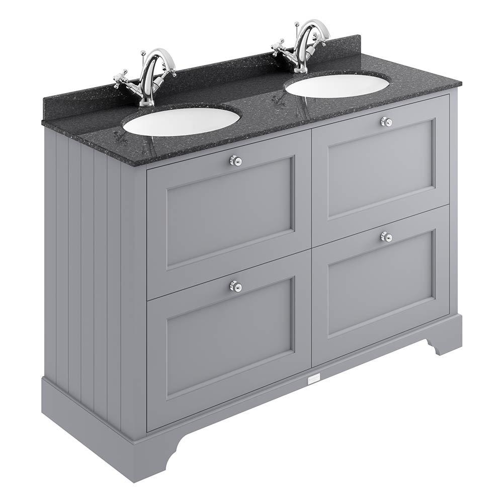 Bayswater Plummett Grey 1200mm 4 Drawer Vanity Unit & 1TH Black Marble Double Bowl Basin Top