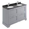 Bayswater Plummett Grey 1200mm 4 Drawer Vanity Unit & 1TH Black Marble Double Bowl Basin Top profile small image view 1
