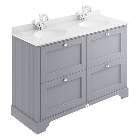 Bayswater Plummett Grey 1200mm 4 Drawer Vanity Unit & 1TH White Marble Double Bowl Basin Top
