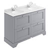 Bayswater Plummett Grey 1200mm 4 Drawer Vanity Unit & 1TH White Marble Double Bowl Basin Top profile small image view 1
