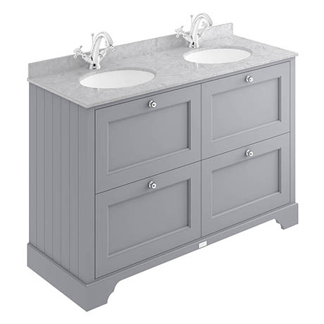 Bayswater Plummett Grey 1200mm 4 Drawer Vanity Unit & 1TH Grey Marble Double Bowl Basin Top