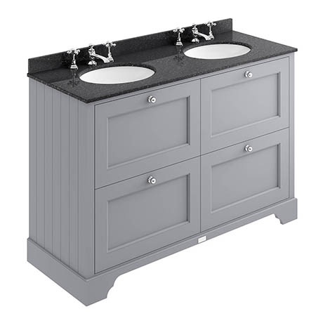Bayswater Plummett Grey 1200mm 4 Drawer Vanity Unit & 3TH Black Marble Double Bowl Basin Top