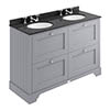 Bayswater Plummett Grey 1200mm 4 Drawer Vanity Unit & 3TH Black Marble Double Bowl Basin Top profile small image view 1