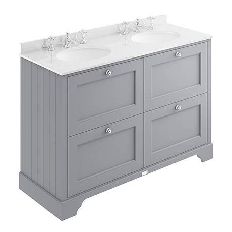 Bayswater Plummett Grey 1200mm 4 Drawer Vanity Unit & 3TH White Marble Double Bowl Basin Top