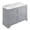 Bayswater Plummett Grey 1200mm 4 Drawer Vanity Unit & 3TH White Marble Double Bowl Basin Top profile small image view 1