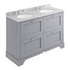 Bayswater Plummett Grey 1200mm 4 Drawer Vanity Unit & 3TH Grey Marble Double Bowl Basin Top profile small image view 1