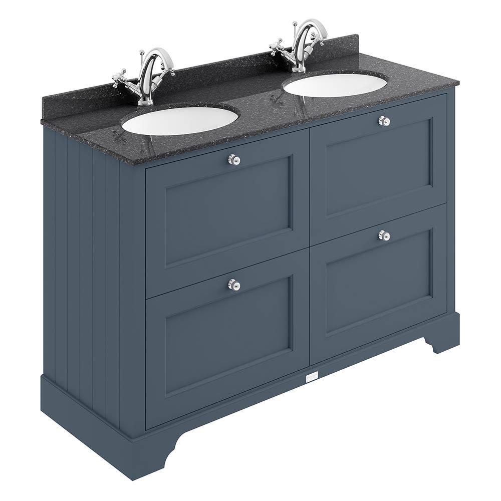 Bayswater Stiffkey Blue 1200mm 4 Drawer Vanity Unit & 1TH Black Marble Double Bowl Basin Top