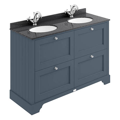 Bayswater Stiffkey Blue 1200mm 4 Drawer Vanity Unit & 1TH Black Marble Double Bowl Basin Top