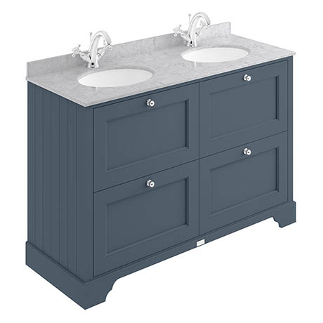 Bayswater Stiffkey Blue 1200mm 4 Drawer Vanity Unit & 1TH Grey Marble Double Bowl Basin Top