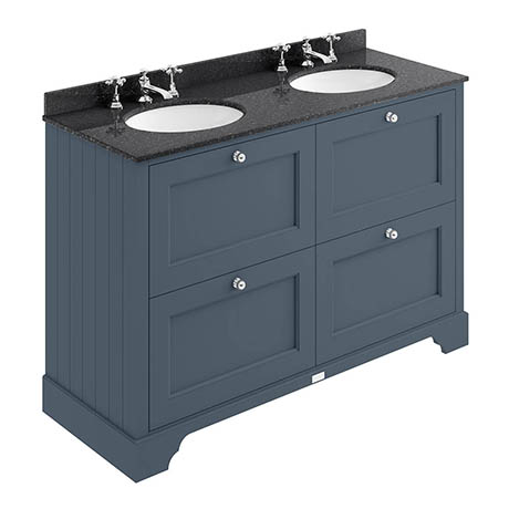 Bayswater Stiffkey Blue 1200mm 4 Drawer Vanity Unit & 3TH Black Marble Double Bowl Basin Top
