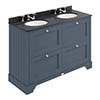 Bayswater Stiffkey Blue 1200mm 4 Drawer Vanity Unit & 3TH Black Marble Double Bowl Basin Top profile small image view 1