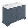 Bayswater Stiffkey Blue 1200mm 4 Drawer Vanity Unit & 3TH White Marble Double Bowl Basin Top profile small image view 1