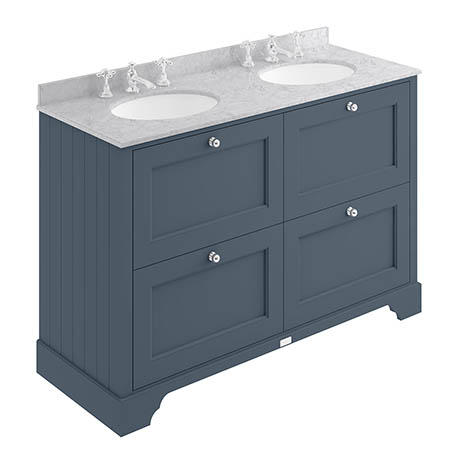 Bayswater Stiffkey Blue 1200mm 4 Drawer Vanity Unit & 3TH Grey Marble Double Bowl Basin Top