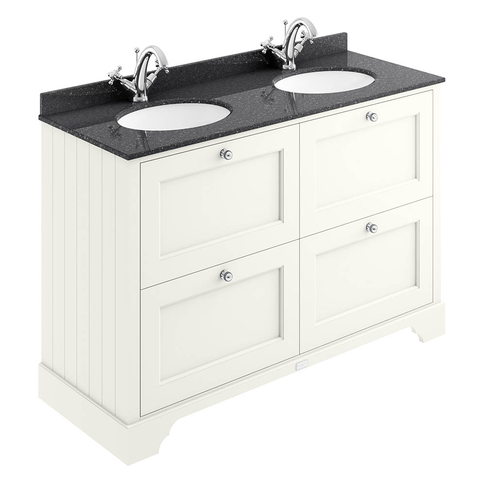 Bayswater Pointing White 1200mm 4 Drawer Vanity Unit & 1TH Black Marble Double Bowl Basin Top