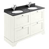 Bayswater Pointing White 1200mm 4 Drawer Vanity Unit & 1TH Black Marble Double Bowl Basin Top profile small image view 1