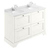 Bayswater Pointing White 1200mm 4 Drawer Vanity Unit & 1TH White Marble Double Bowl Basin Top profile small image view 1