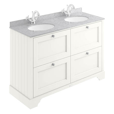 Bayswater Pointing White 1200mm 4 Drawer Vanity Unit & 1TH Grey Marble Double Bowl Basin Top