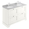 Bayswater Pointing White 1200mm 4 Drawer Vanity Unit & 1TH Grey Marble Double Bowl Basin Top profile small image view 1