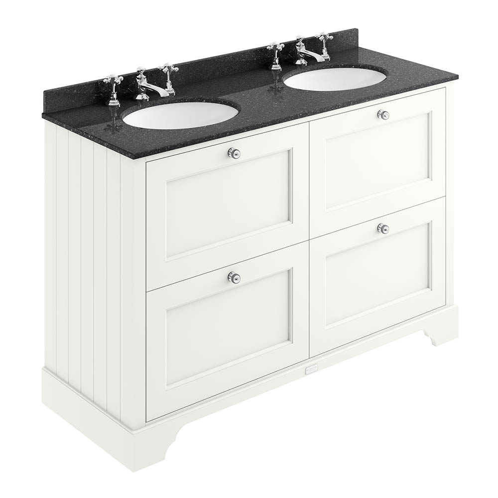 Bayswater Pointing White 1200mm 4 Drawer Vanity Unit & 3TH Black Marble Double Bowl Basin Top