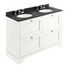 Bayswater Pointing White 1200mm 4 Drawer Vanity Unit & 3TH Black Marble Double Bowl Basin Top profile small image view 1