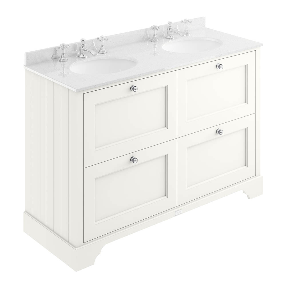 Bayswater Pointing White 1200mm 4 Drawer Vanity Unit & 3TH White Marble Double Bowl Basin Top