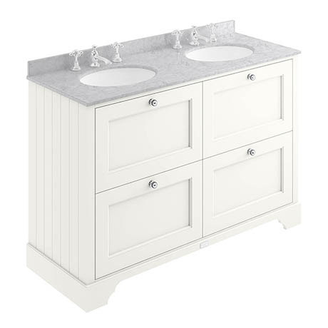Bayswater Pointing White 1200mm 4 Drawer Vanity Unit & 3TH Grey Marble Double Bowl Basin Top